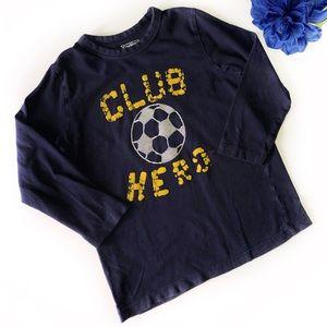 """OSHKOSH 4T """"CLUB HERO"""" SOCCER NAVY BLUE LONG SLEEV"""